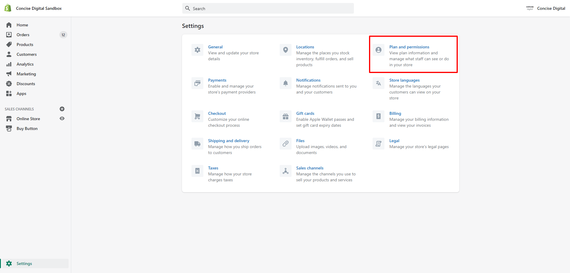 How to add staff account to Shopify step 2